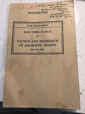 FM 31-30 Tactics And Technique Of Airborne Troops Named To Platoon Sergent  11th