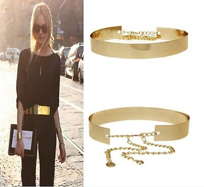 Chic Fashion Lady Belt Full Metal Gold Wide Plate Waist Chains Belt Waistband-LG