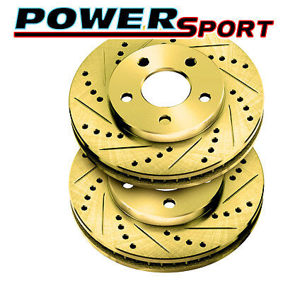FULL KIT PowerSport Gold Drilled Slotted Rotors and Ceramic Pads BGCC.66076.02