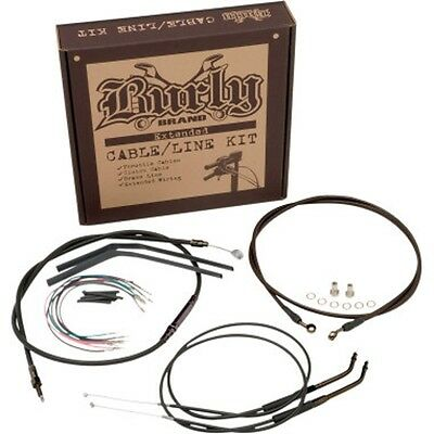 """Burly Complete Black Cable kit for 14-2018 HD Sportster for 16"""" tall handlebars"""