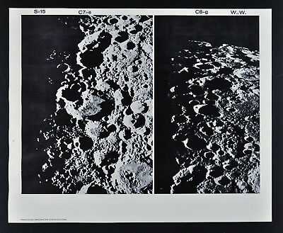 1960 Lunar Moon Map Photo Craters - Mount Wilson Observatory Plates W119 & W123