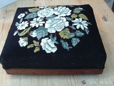 Antique tapestry footstool - oak base - white rose design