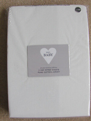 M&s Baby Pack 2 Cot Fitted Sheets Pure Cotton Jersey+Staynew-Winter White Bnip