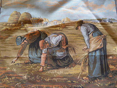 LARGE PRINTED TAPESTRY CANVAS Margot Creations de Paris Needlepoint THE GLEANERS