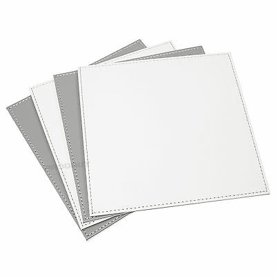 Reversible Flip 8 Placemats Grey off-White Square Faux Leather Table Mats Set