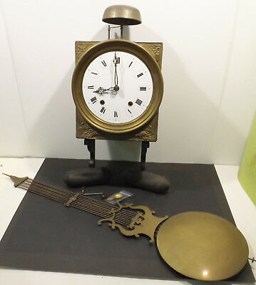 Antique Comtoise Wall Clock with Magnificent Pendant,Weights,Key - Blow on Bell