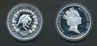 Australia: 2000 $5 Sydney Olympic -Kangaroo & Grass trees 1oz Silver Cat $85