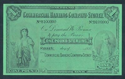 "Commercial Banking Co Sydney 1890s ""CAPT COOK"" £1 Funny Money - See description"