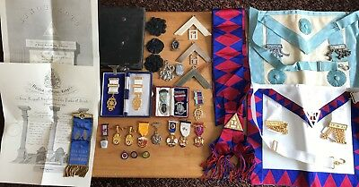 Large Vintage Masonic Collection With 20 Plus Jewels, Sashes Etc With Black Case