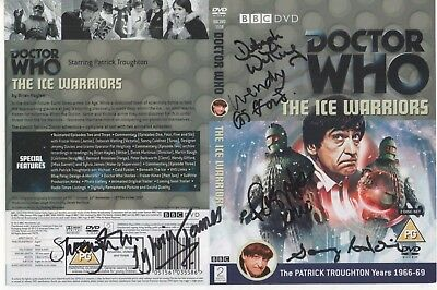 Dr Who The Ice Warriors DVD Cover Auto by 6 People