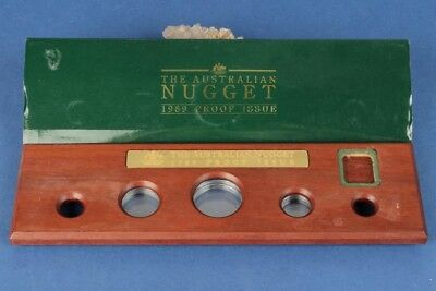 Australia: 1989 Gold Nugget Proof Set Deluxe Wooden Empty Case. (no coin)