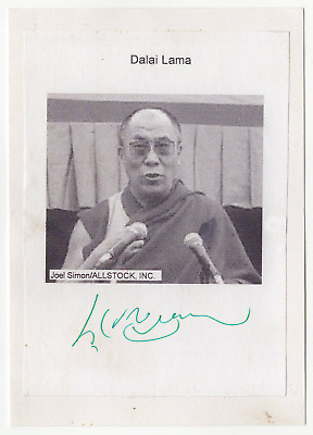 Dalai Lama signed autographed index card photo! RARE! Great Condition! JSA LOA!