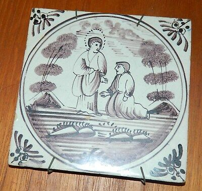 Antique dutch tile with Bible and Jesus motif from first half of 19th. century
