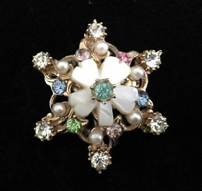 Vintage Rhinestone~Faux Pearl~Mother of Pearl Small Layered Cluster PIN/Brooch