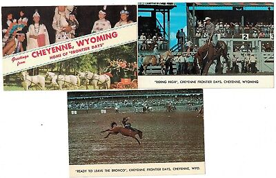 3 1950's Greetings From Frontier Days Cheyenne Wyoming Postcard