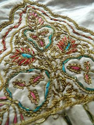Antique Ottoman Islamic opulent gold metallic wirework embroidery on silk satin