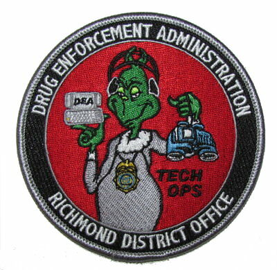 Virginia State DEA Richmond Tech Ops Federal Police Narcotics Drug Grinch Patch