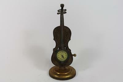 Mechanische Tischuhr Figurenuhr Cello Kontrabass Instrument Bronze Handaufzug