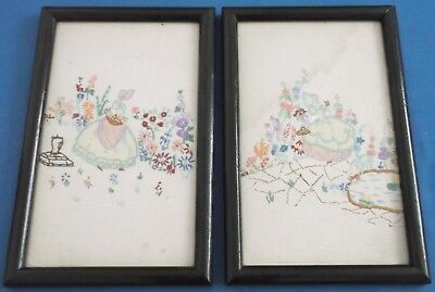 Vintage Hand Embroidered Linen Picture Panel Crinoline Lady Pair