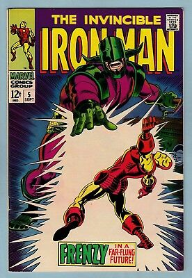 IRON MAN # 5 VFN- (Qualified)  BRIGHT & VERY GLOSSY - CENTS - 1968 - 99p START