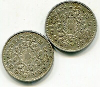 Japan 100 Yen lot of (2) silver coins  year 32 + 33 (1957 & 58)  lotsep4106