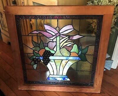 Gorgeous Framed Stained Glass Window - Basket of Fruit - 28 x 28 - No Damage