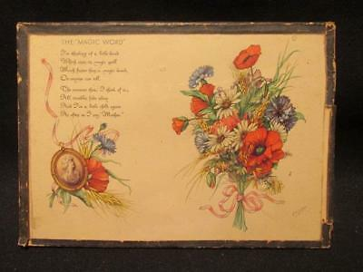 Mother Is The Magic Word  Vintage P H Schor Signed Floral Image Under Glass