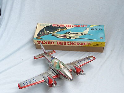 Masudaya Modern Toys Silver Beechcraft Friction Airplane 70er Jahre in Box Japan