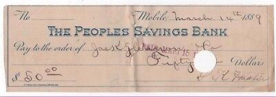 1889 Check, THE PEOPLES SAVINGS BANK, Mobile, Alabama