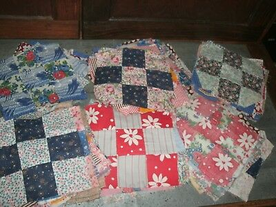 Vintage QUILT BLOCKS. 9 PATCH.  Group of  90+