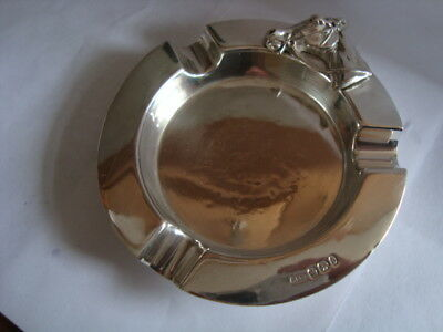Super Solid Victorian Silver 1896 Jockey Equine Horse Ashtray Mappin & Webb Fab