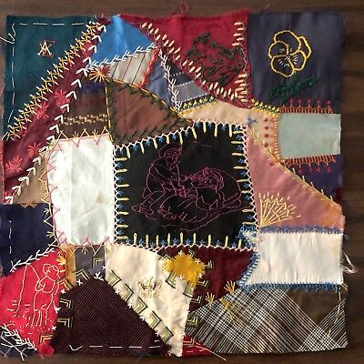 Antique vintage style - Hand made crazy quilt block velvet beaded embroidered 2
