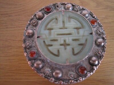 Chinese metal  and jade mirror box  has lots of detail
