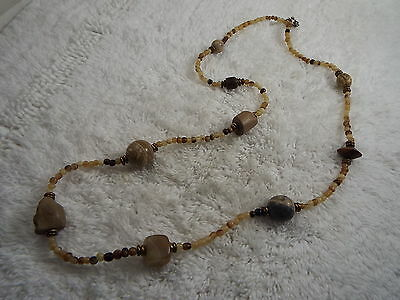 Brown Tan Bead & Stone Necklace (B37)