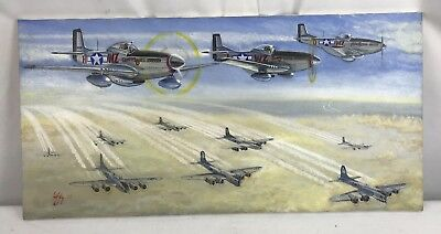 Vintage Painting Of WWII US Army Air Corps P-51 Mustangs & Bombers