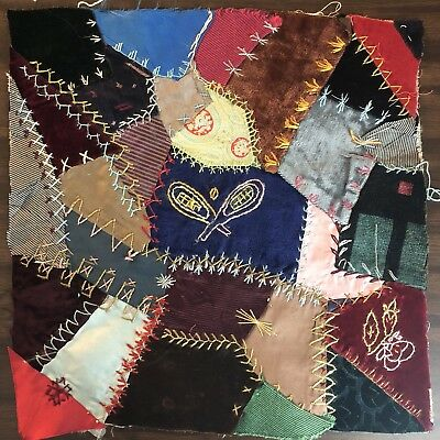 Antique vintage Early Hand made crazy quilt block velvet Satin embroidered 3