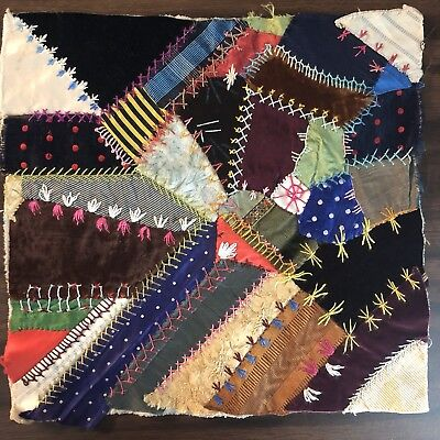 Antique vintage Early Hand made crazy quilt block velvet Satin embroidered 6