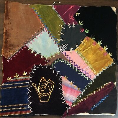 Antique vintage Early Hand made crazy quilt block velvet Satin embroidered 4
