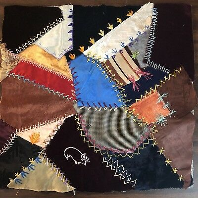 Antique vintage Early Hand made crazy quilt block velvet Satin embroidered 8