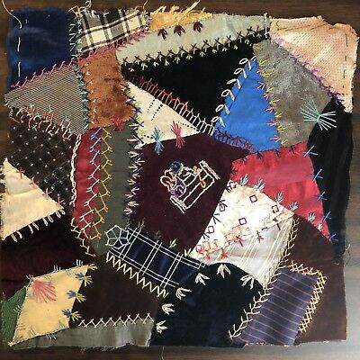 Antique vintage Early Hand made crazy quilt block velvet Satin embroidered 10