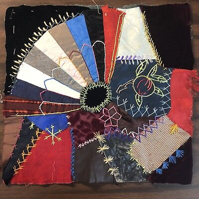 Antique vintage Early Hand made crazy quilt block velvet Satin embroidered 11