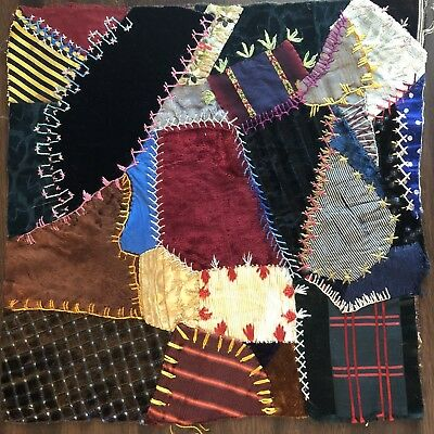 Antique vintage Early Hand made crazy quilt block velvet Satin embroidered 5