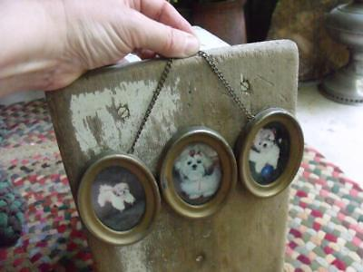 Sweet Old Vintage Wall Hanging Triple Picture Frame Tin With Shabby Gold Finish