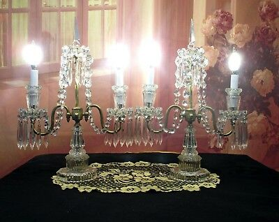 Antique Vintage Pair of Crystal Candelabra Table Lamps 2 Light 1920's Brass