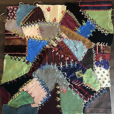Antique vintage Early Hand made crazy quilt block velvet Satin embroidered 12