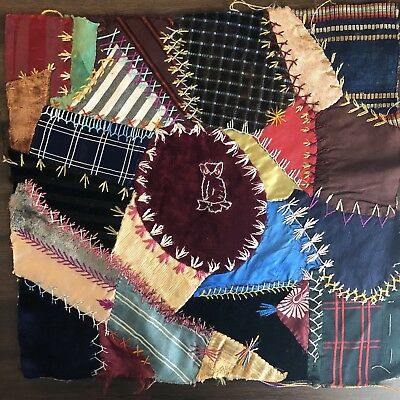 Antique vintage Early Hand made crazy quilt block velvet Satin embroidered 13