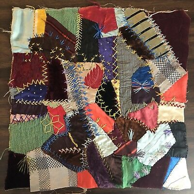 Antique vintage Early Hand made crazy quilt block velvet Satin embroidered 14