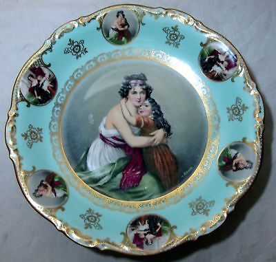 """Large 12"""" Mitterteich Bavaria Footed Hand Painted Artist Signed Portrait Plate"""