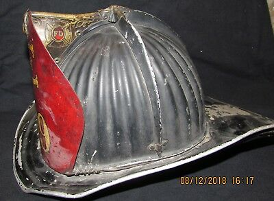 Vintage Colton New York Fire Fireman Metal Helmet Jerry Wilson Engine 49