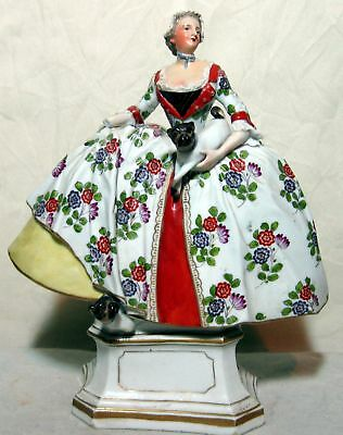 Antique Large 18 C. Frankenthal Porcelain Woman With Dogs Figurine
